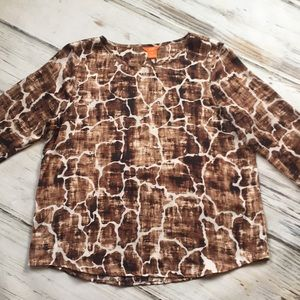 Joe Fresh long sleeve blouse giraffe animal print